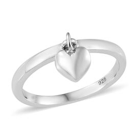 Platinum Overlay Sterling Silver Band Ring with Heart Charm
