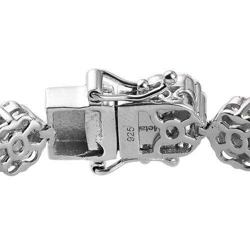 J Francis Platinum Overlay Sterling Silver Bracelet (Size 7) Made with SWAROVSKI ZIRCONIA 22.62 Ct, Silver wt 15.75 Gms