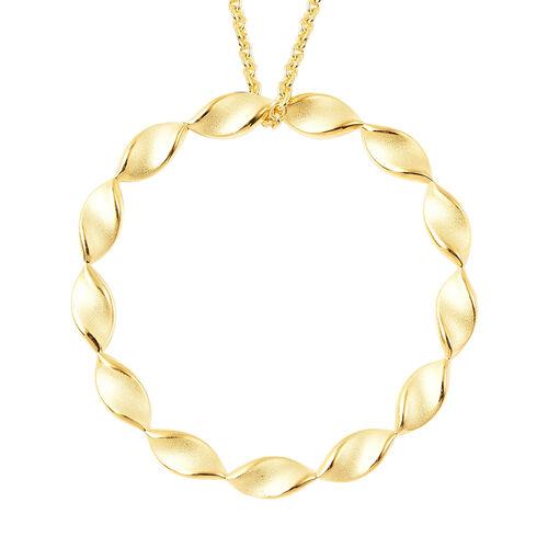 RACHEL GALLEY Yellow Gold Overlay Sterling Silver Sandblast Texture Twist Circle Design Pendant with