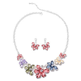 2 Piece Set - White Austrian Crystal Red and Multi Colour Enamelled Floral Necklace (Size 20 with 2
