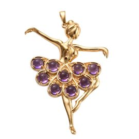 Zambian Amethyst (Rnd) Ballerina Pendant in Yellow Gold Plated 4.750 Ct.