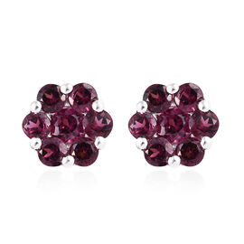 Rhodolite Garnet (Rnd) Floral Stud Earrings (with Push Back) in Sterling Silver 2.250  Ct.