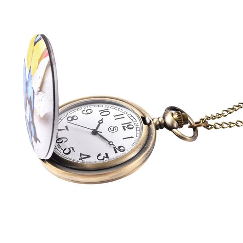 STRADA Japanese Movement Multi Colour Butterfly Pattern Pocket Watch with Chain (Size 31) in Antique Bronze Plated