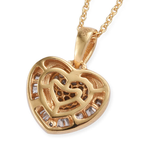 Diamond (Rnd and Bgt) Heart Pendant With Chain (Size 20) in 14K Gold Overlay Sterling Silver 0.330 Ct.