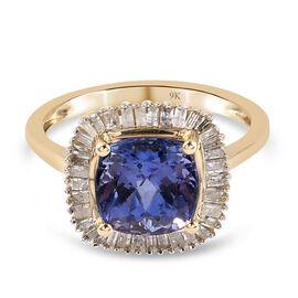9K Yellow Gold  Tanzanite, White Diamond Ring in Rhodium Overlay 2.80 ct,  Gold Wt. 2.8 Gms  2.800