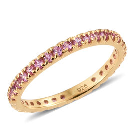 Madagascar Pink Sapphire (0.75 Ct) 14K Gold Overlay Sterling Silver Ring  0.750  Ct.