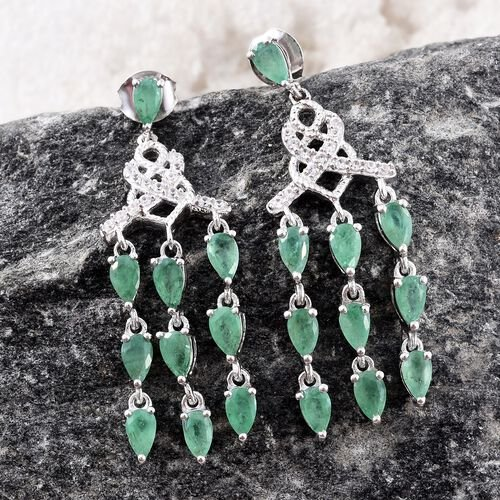 Kagem Zambian Emerald (Pear), Natural Cambodian Zircon Chandelier Earrings (with Push Back) in Platinum Overlay Sterling Silver 2.750 Ct. Silver wt 5.74 Gms.