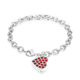 Hatton Garden Close Out Deal - Designer Inspired-  Belcher Bracelet (Size 7.5) with Heart Charm in S
