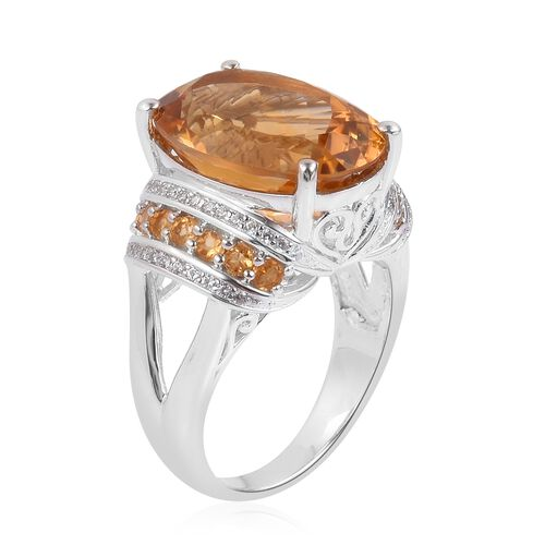 Rare Size Madeira Citrine (Ovl 18x13mm), Natural White Cambodian Zircon Ring in Platinum Overlay Sterling Silver 12.550 Ct. Silver wt 6.70 Gms.