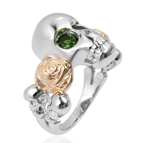 Halloween Collection- Russian Diopside (Rnd) Skull Ring in Rhodium and Gold Overlay Sterling Silver 0.400 Ct, Silver wt 5.67 Gms.