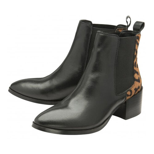 Ravel Saxmon Leather Ankle Boots with Leopard Print Details (Size 3) - Black