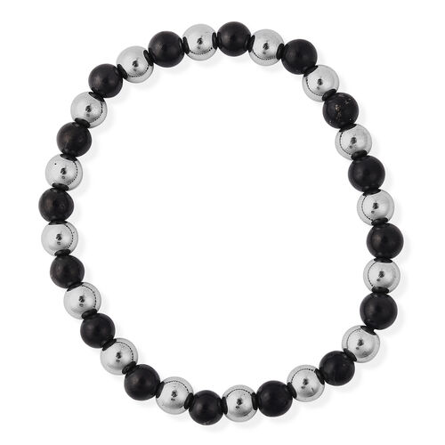 Shungite and Silver Plated Hematite Stretchable Beads Bracelet (Size 7) 84.00 Ct.