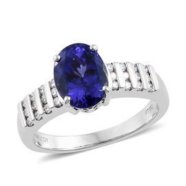 RHAPSODY 3 Carat AAAA Tanzanite and Diamond Ring in 950 Platinum 7.10 Grams