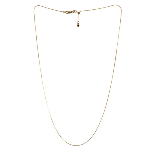 14K Gold Overlay Sterling Silver Adjustable Snake Chain (Size 24)