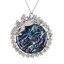 Abalone Shell and White Austrian Crystal Floral Pendant with Chain in Stainless Steel