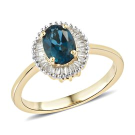 9K Yellow Gold AAA London Blue Topaz (Ovl 0.850 Ct) Diamond Ring 1.000 Ct.