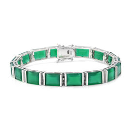 34.56 Ct Green Onyx Tennis Bracelet in Rhodium Plated Silver 14.40 Grams 7.5 Inch