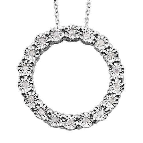 GP Diamond and Blue Sapphire Circle Pendant with Chain in Platinum Plated Silver 20 Inch