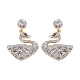 GP Diamond (Rnd and Bgt), Blue Sapphire Swan Earrings (with Push Back) in 14K Gold Overlay Sterling