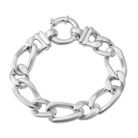Limited Available 20 Inch Figaro Necklace in Rhodium Plated Sterling Silver 55 Grams