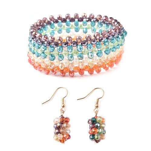 2 Piece Set - Simulated Multi Colour Gemstone Hook Earrings and Stretchable Bracelet (Adjustable siz