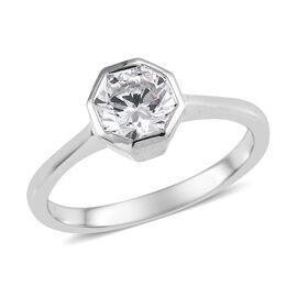 J Francis SWAROVSKI ZIRCONIA Solitaire Ring in Platinum Plated Silver