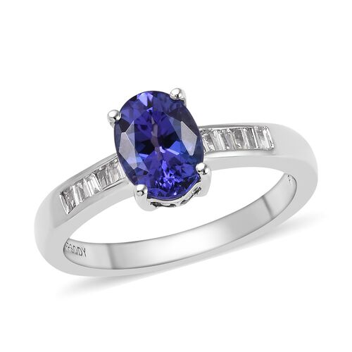 RHAPSODY 1.25 Carat AAAA Tanzanite and Diamond Solitaire Ring in 950 Platinum 5 Grams