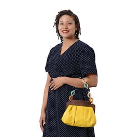 LA MAREY Clutch Bag with Extra Multi Colour Handle Drop in Yellow (Size 23x4x31 Cm)