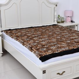 Super Soft Reversible Faux Fur Mink Tiger Pattern Blanket (Size 200x150 cm)