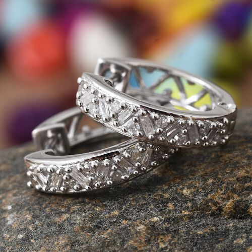 Diamond (Rnd and Bgt) Hoop Earrings (with Clasp Lock) in Platinum Overlay Sterling Silver 0.330 Ct.