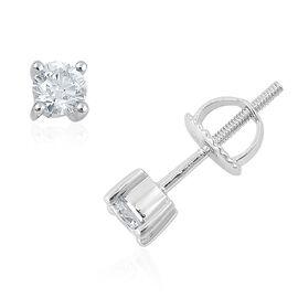 ILIANA 0.50 Carat Diamond Solitaire Round Stud Earrings in 18K White Gold IGI Certified Diamond SI H