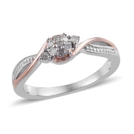 Diamond Solitaire Ring in Rose Gold and Platinum Plated Sterling Silver