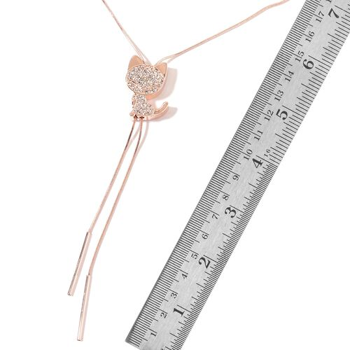 Austrian White Crystal Lariat Necklace (Size 16 - 30 Inch) in Rose Gold Tone.