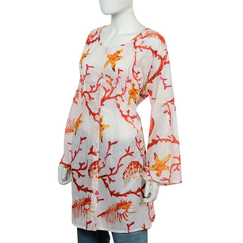 100% Cotton Tunic with Long Bell Sleeves, Buttoned Front and Pintuck Detailing (Size L/XL, 94x61 Cm) - Red and White