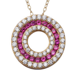 ELANZA Simulated Ruby (Rnd), Simulated Diamond Three Row Circle Pendant With Chain (Size 18) in Yell