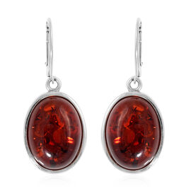 12 Carat Baltic Amber Solitaire Drop Earrings in Sterling Silver with Lever Back