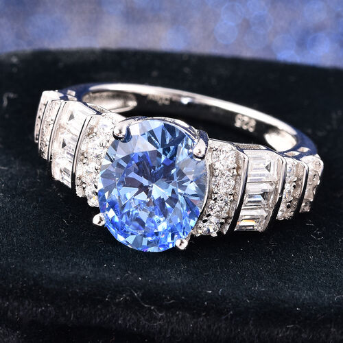 J Francis Rhodium Overlay Sterling Silver Ring Made with BLUE AND WHITE SWAROVSKI ZIRCONIA