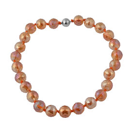 Fire Opal Colour Crystal (Rnd 17-19mm) Faceted Beads Necklace (Size 19.5) with Magnetic Lock