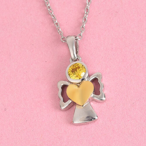 Simulated Yellow Sapphire Pendant With Chain (Size 20) in Yellow Gold and Platinum Overlay Sterling Silver