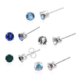 Set of 5 - J Francis - Crystal From Swarovski Multi Colour Crystal (Rnd) Stud Earrings (with Push Ba
