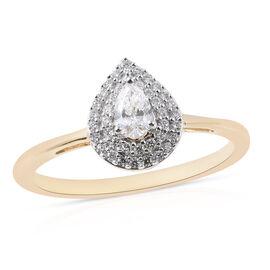 ILIANA 0.40 Ct Diamond Halo Ring in 18K Yellow Gold 3.32 Grams IGI Certified SI GH