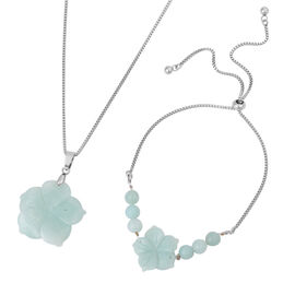 3 Piece Set - Amazonite Floral Adjustable Bracelet and Pendant with Chain (Size 20) in Stainless Ste