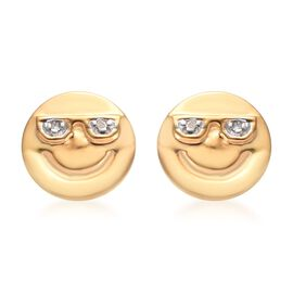 Diamond Happy Smiley Stud Earrings (with Push Back) in 14K Gold Overlay Silver, Silver wt 1.35 Gms