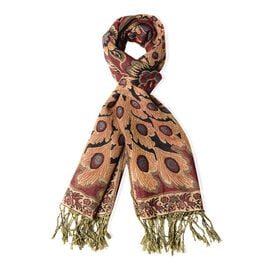 Golden Colour Peacock and Floral Pattern Shawl with Tassels (Size 176x70 Cm)