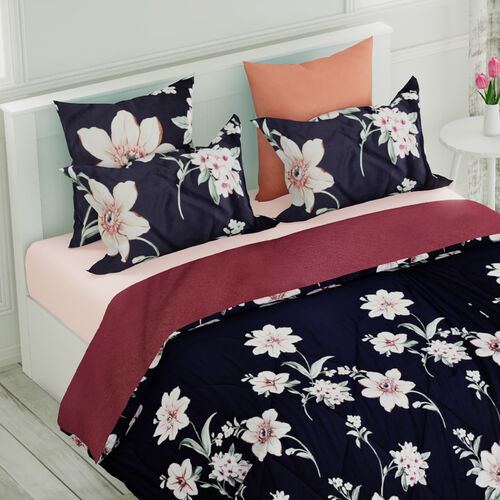 4 Piece Set - Mulberry Silk Quilt with Cotton Printed Cover (200x200cm), 2 Pillow Cases (50x70+5cm) and Cushion Cover (40x40cm) - Navy Blue