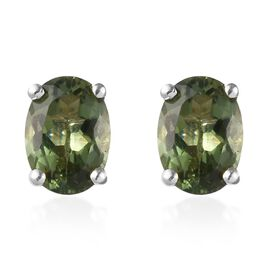 AA Natural Green Apatite Stud Earrings (with Push Back) in Sterling Silver 1.75 Ct.