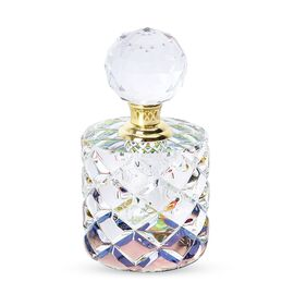 Cylindrical Carved Crystal Refillable Perfume Bottle with Colourful Base(Size 12x6 mm)