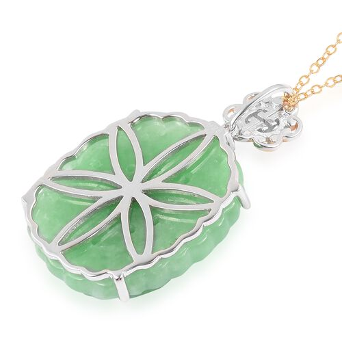Green Jade Chinese Symbol longevity Pendant with Chain in Rhodium and Yellow Gold Overlay Sterling Silver 30.500 Ct.