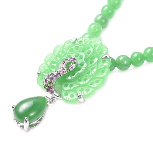 Green Jade, Russian Diopside, Amethyst, Rhodolite Garnet and Natural Cambodian Zircon Peacock Necklace (Size 18) in Rhodium Overlay Sterling Silver 281.77 Ct.