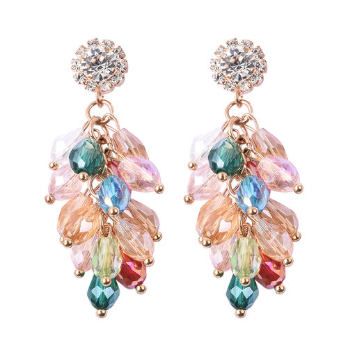 Simulated Multi Colour Diamond, White Austrian Crystal Dangling Earrings (with Push Back) in Gold To